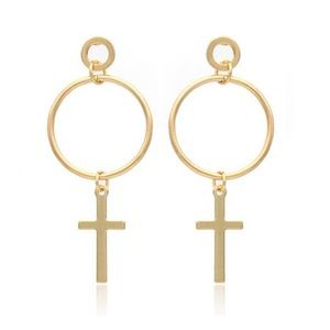 NWOT gold circle and cross earrings